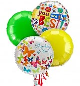 Balloons: Thinking of You Balloon Bouquet-4 Mylar