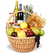 Wine & Fruit Baskets: Grand Celebrations Fruit and Wine Basket