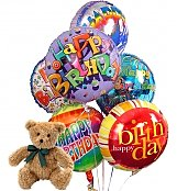 Balloons & Bear: Birthday Balloons & Bear-6 Mylar