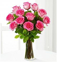 Flower Bouquets: One Dozen Pink Roses with Vase